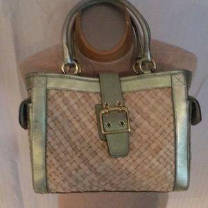 Authentic Coach Basket Weave handbag leather trim